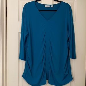 Susan Graver 2x turquoise front & side ruched!